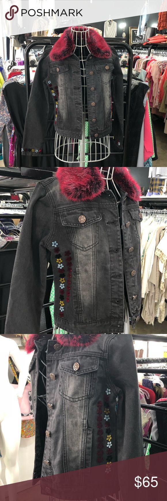 Desigual Fur Collared Embroidered Denim Jacket Desigual jacket Desigual Jackets & Coats Jean Jackets