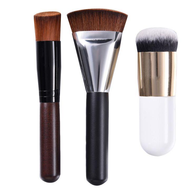 3 pcs Pro Makeup Brushes Blush Foundation Powder Cosmetic Tool Flat Contour Brush + Fat Head Brush + Oblique Head Brush
