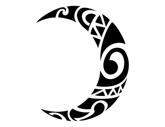 Tribal Pattern Moon Tattoo