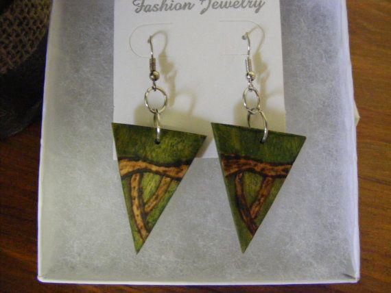 Green triangle wooden earrings wood burned earrings by byRickMarsh