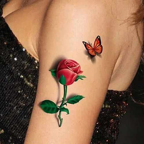 3D Temporary Removable Waterproof Colorful Body Art Butterfly Flower Tattoo Sticker09WG