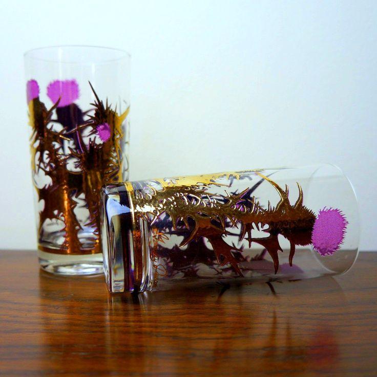 Scottish Thistle 1950s Vintage Highball Glasses 2 Purple & Gold Fòghnan Bar Tumblers Gregory Duncan Cluaran Scotland National Flower Barware by LightlySaucedRetro on Etsy
