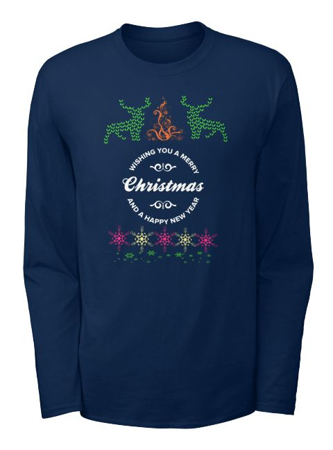 Funny Christmas T Shirts Uk Navy Long Sleeve T-Shirt Front https://www.fanprint.com/licenses/navy?ref=5750