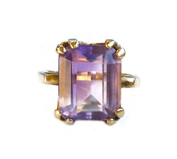 Vintage Amethyst Ring 14K Gold Ring Cushion Cut by zephyrvintage #GotVintage  #Vintage  #Jewelry