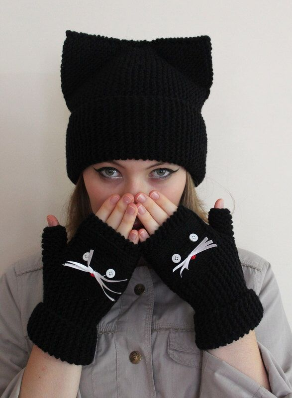 VALENTINES DAY Gift ideas! FAST Shipping.  Gift for her.Black berets. Cat hat,gloves, Black hat, halloween handmade hat.  Ready to shipping. by beyazdukkan on Etsy https://www.etsy.com/listing/248608129/valentines-day-gift-ideas-fast-shipping