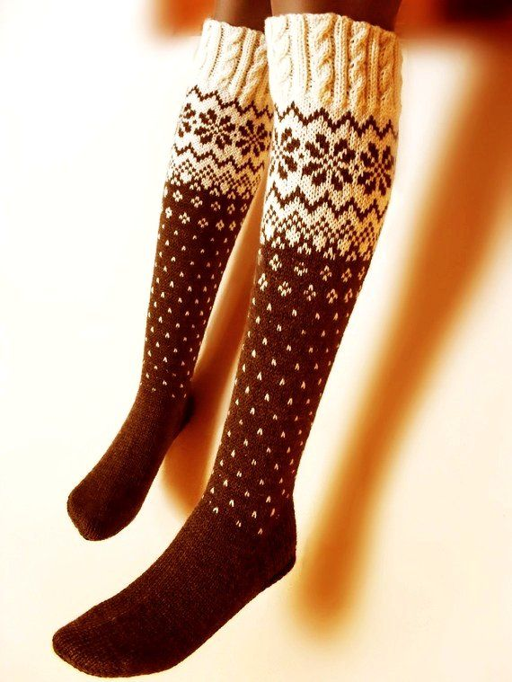 Long Over Knee Stockings Socks Knee high romantic Norwegian patterns and cables - White-Brown-Milk-Chocolate