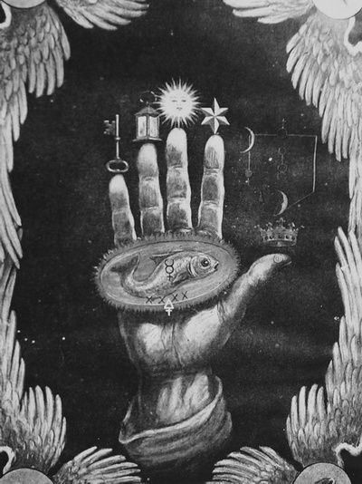 Hand of the Mysteries; alchemical symbols.