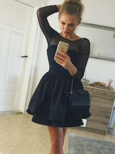 5dc2a2afafc Tiered Black Long Sleeve Pleated Stain Homecoming Dresses in 2019 ...