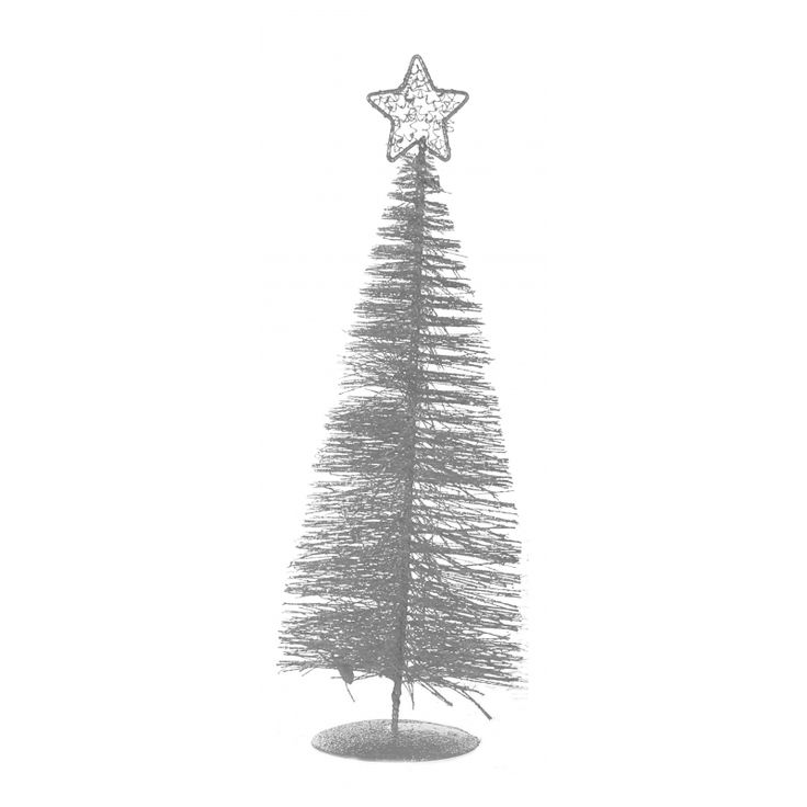Tafel kerstboompje zilver 21 cm  Zilveren decoratie kerstboom gemaakt van plastic en ijzerdraad. De kerstboom heeft een ster als piek. Het geheel is ca. 8 x 8 x 21 cm groot.  EUR 2.25  Meer informatie