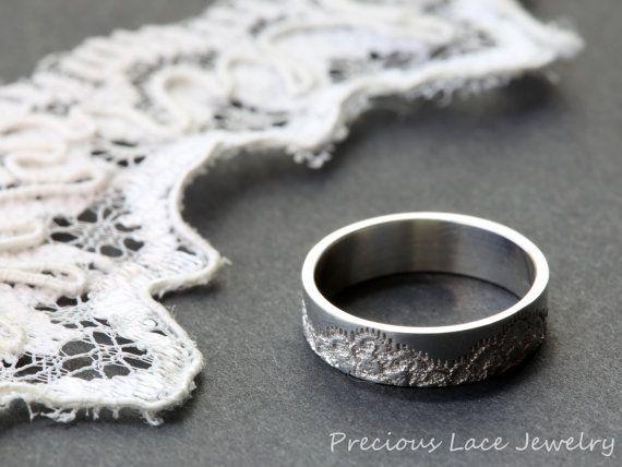 Clásico anillo con textura de encaje anillo de aniversario, anillo de bodas, anillo de bodas, anillo encaje plata, único anillo de plata, anillo de plata de textura