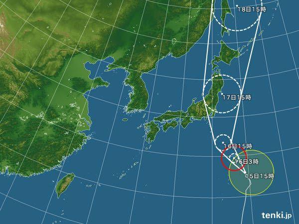 台風情報・日本広域(2016年8月15日 15時現在)