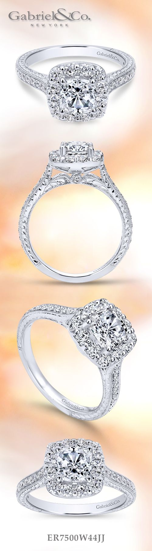 Gabriel & Co. - Voted #1 Most Preferred Bridal Brand.     An original, intricate White Gold Cushion Cut Halo Engagement Ring.