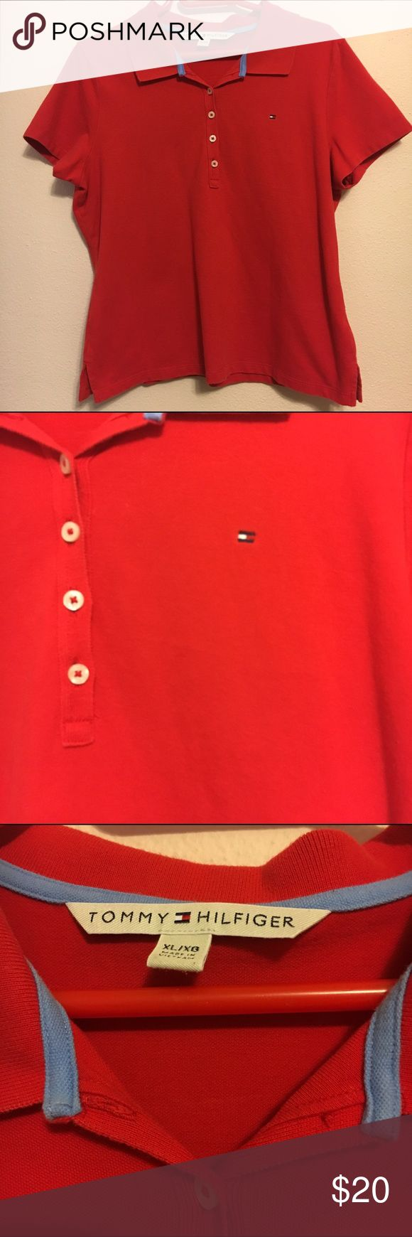Tommy Hilfiger red woman's polo style shirt xl Tommy Hilfiger red polo style button up shirt. Tommy logo on chest. In good condition. 19 arm to arm and 22 shoulder to hem. Tommy Hilfiger Tops Tees - Short Sleeve