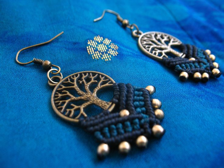 Macrame earrings. Tree of life. Handmade in Black and sea blue colors. Spring. Nature. Hippie. Boho. Tribal. Yoga. Surf.