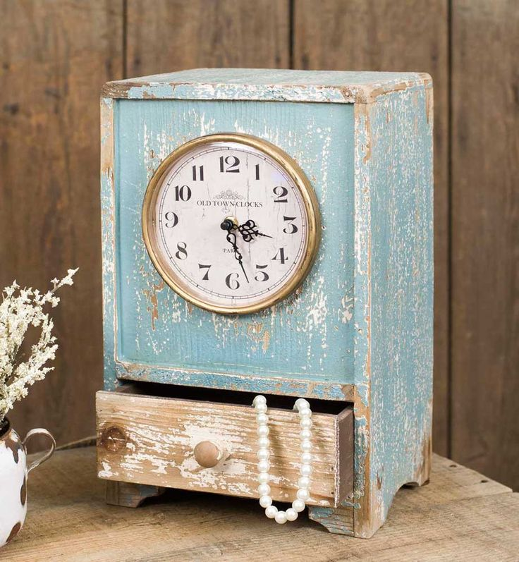 Blue Rustic Tabletop Clock