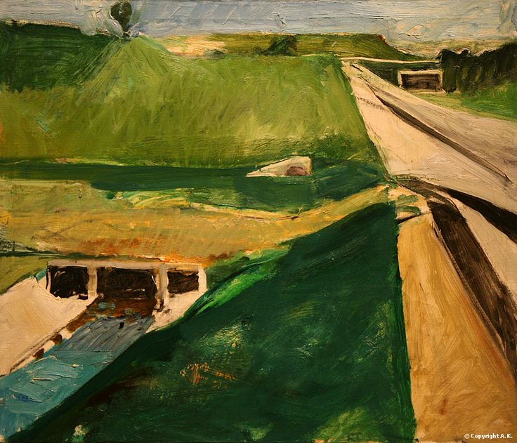 """Richard Diebenkorn - Freeway and Aqueduct, 1957. Oil on canvas. 59,2 x 71,1 cm (23.3"""" x 28"""")For more Fine Arts follow galer..."""