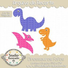 Cute Dinosaurs, Dinossauros Fofos, Dinosaur, T-Rex, Tiranossauro Rex, Tricerátops, Triceratops, Era dos Dinossauros, Corte Regular, Regular Cut, Silhouette, DXF, SVG, PNG