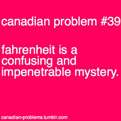 Canadian Problems. YES. unless you are cooking.