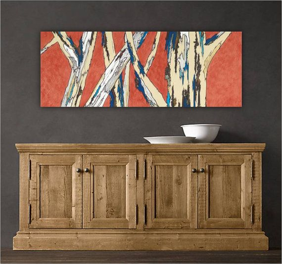 Large Wall Art Print. Abstract Landscape. Tree Art On Canvas. Long Painting. Part 40