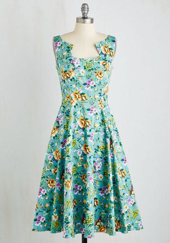 So Far, Sol Good Dress - Cotton, Woven, Blue, Multi, Floral, Print, Daytime Party, Pinup, 50s, 60s, Fit & Flare, Sleeveless, Summer, Better