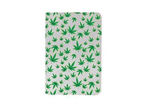 Cannabis Weed Leaves Pattern Leather Passport Holde/ Cove