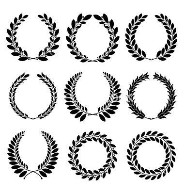 Set from black laurel wreath vector