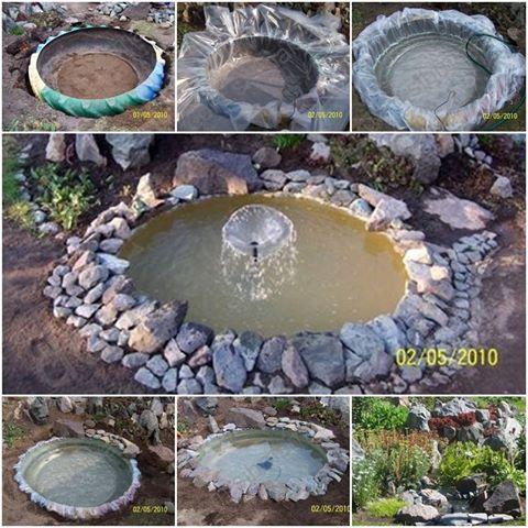 Tractor tire pond flower garden ideas pinterest for Flower garden ponds