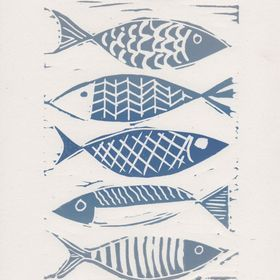 Fishes - mounted, linocut print by Design Smith