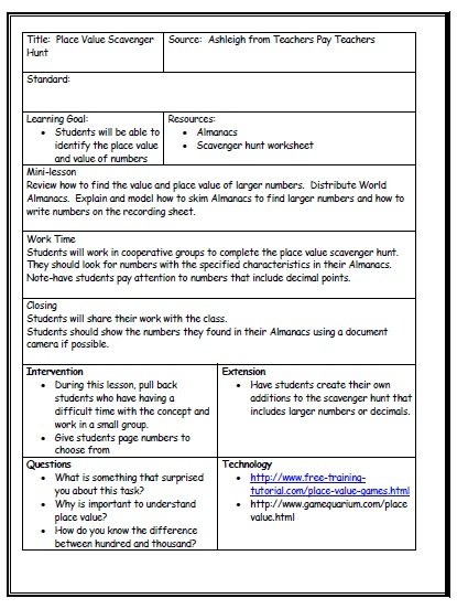 Middle School Lesson Plan Template. Lesson Plan Template - Single