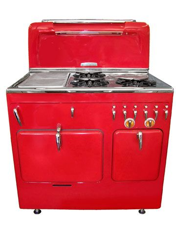 "Vintage Stoves - Country Living; 1949 Chambers C-90 restored - pop up broiler, childproof handles, and hidden slow cooker.  Can you say ""statement!"""