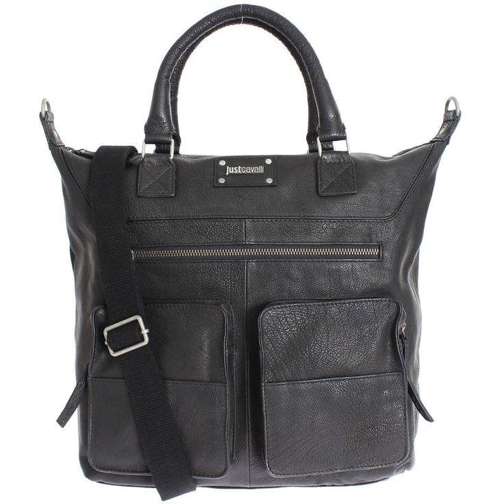 JUST CAVALLI Black Leather Messenger Shoulder Weekend Bag #bag #black #leather