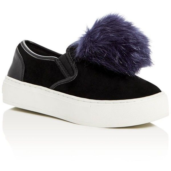 Rebecca Minkoff Sloane Pom Pom Slip On Sneakers (675 ILS) ❤ liked on Polyvore featuring shoes, sneakers, black, black leather sneakers, leather shoes, black slip on sneakers, leather slip-on shoes and black leather trainers
