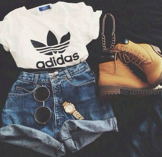 All Seasons I Guess//White and Black ADIDAS Top, High Waisted Denim Shorts, Round Sunglasses, Gold Watch, Timberland Boots