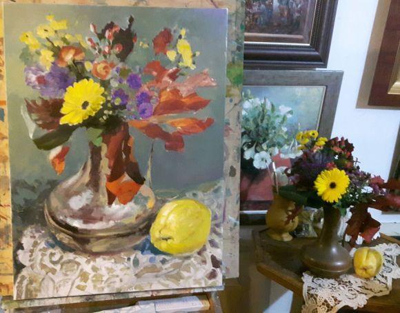 Autumn flower-oil on canvas