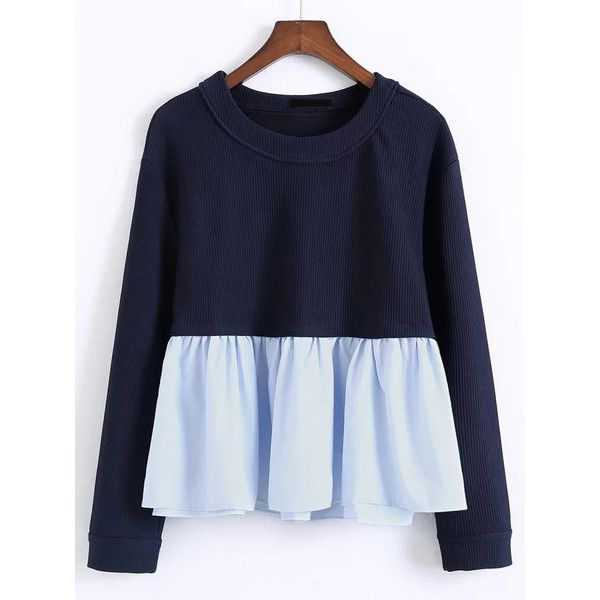 Navy Contrast Ruffle Hem Blouse (2950 RSD) ❤ liked on Polyvore featuring tops, blouses, blue top, blue blouse, navy blouse, navy top and ruffle hem top
