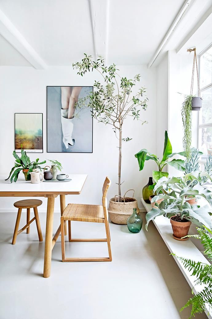 """**Dining table** and **stool** designed by Says for [Ilva](https://ilva.dk/ target=""""_blank""""). BM61 **chair** by [Børge Mogensen](http://www.greatdanefurniture.com/ target=""""_blank""""), **basket** from markets, large photo **print** by [Anders Lindén](http://www.agentbauer.se/photographers/anderslinden/ target=""""_blank""""), small photo **print** by [Dan Isaac Wallin](http://www.danisaacwallin.com/ target=""""_blank""""), coloured glass **vases** by [House…"""
