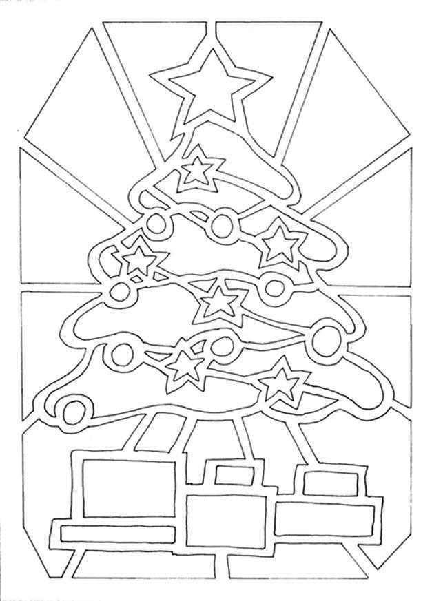 Mod le en papier vitrail le sapin de no l et ses cadeaux - Modele sapin de noel en papier ...