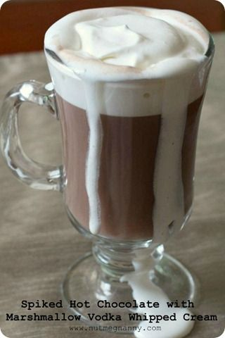 Spiked Hot Chocolate with Marshmallow Vodka Whipped Cream