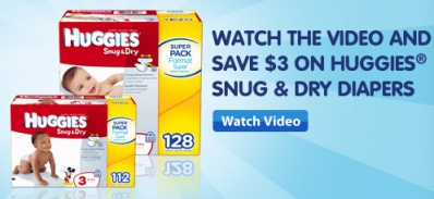 head on over to the Walmart site to print this high value $3/1 Huggies Snug & Dry diapers coupon whenever you watch the video on their site.