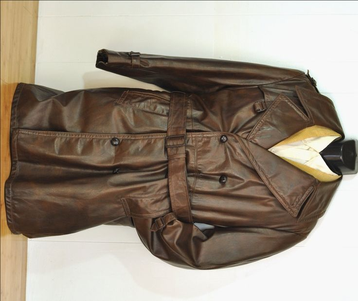 Vintage Brown Leather Trench Coat Mens Long #TrenchCoat w/ Zip Out Lining #1970's Winter Coat Double Breasted Belted Size Large Spy #Gangster by @ArmorOfModernMen.Etsy.com