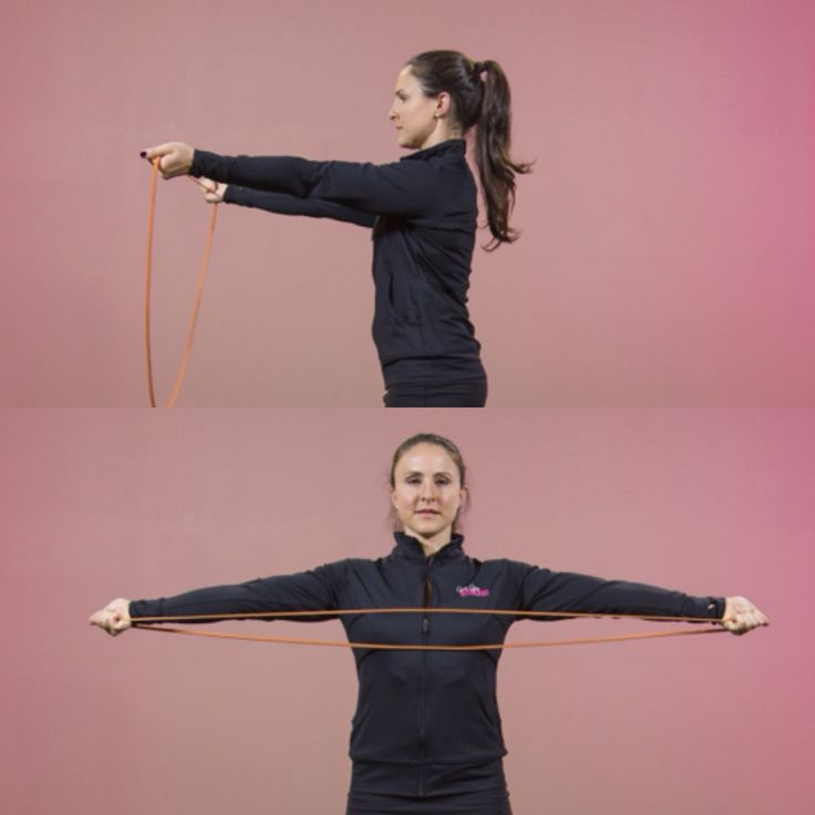 Post C section exercises - Band Pull-Aparts are a great exercise to ease you back into strength training.