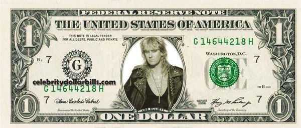 JOE ELLIOTT Def Leppard – Real Dollar Bill Cash Money Collectible Memorabilia Celebrity Novelty Bank Note Dinero