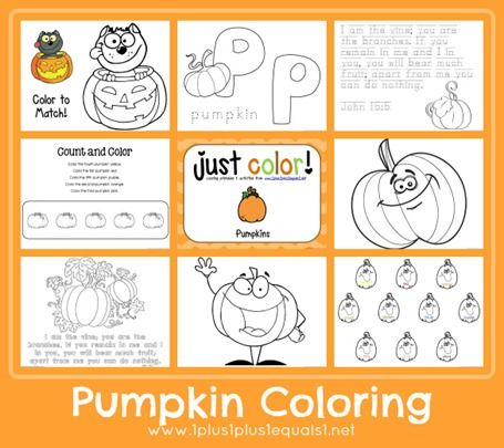Pumpkin Coloring Printables from www.1plus1plus1equals1.net