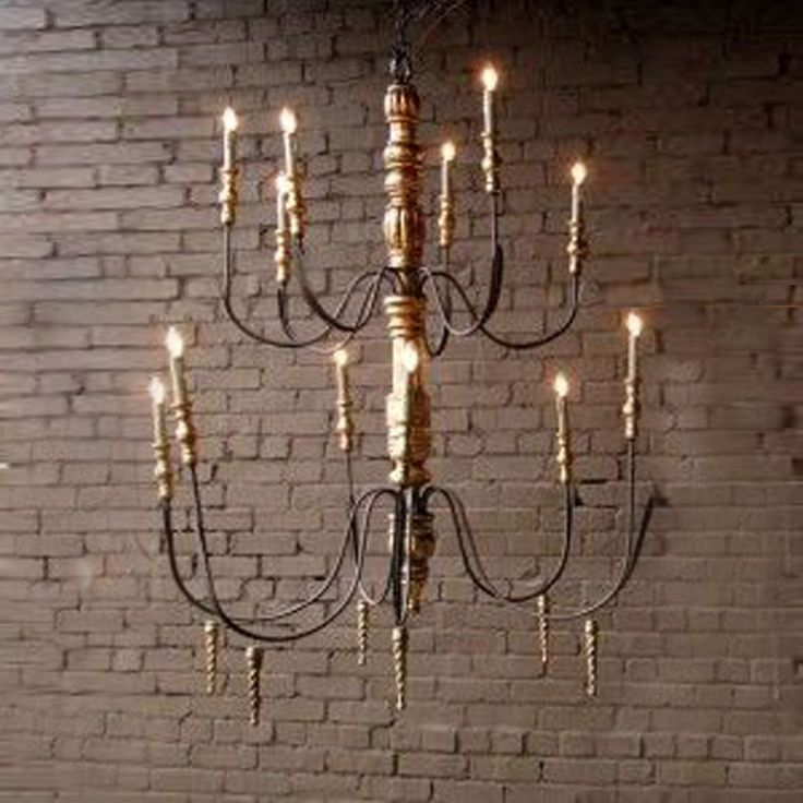 Wood And Iron Candle Light Chandelier 40 W X 48 H