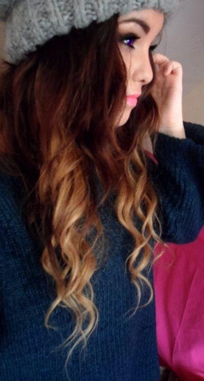 brunette . blonde dipdye . curls