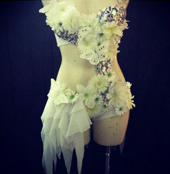 White one piece flower rave outfit | Rave outfits u0026 Makeup | Pinterest | Rave Rave wear and Raves
