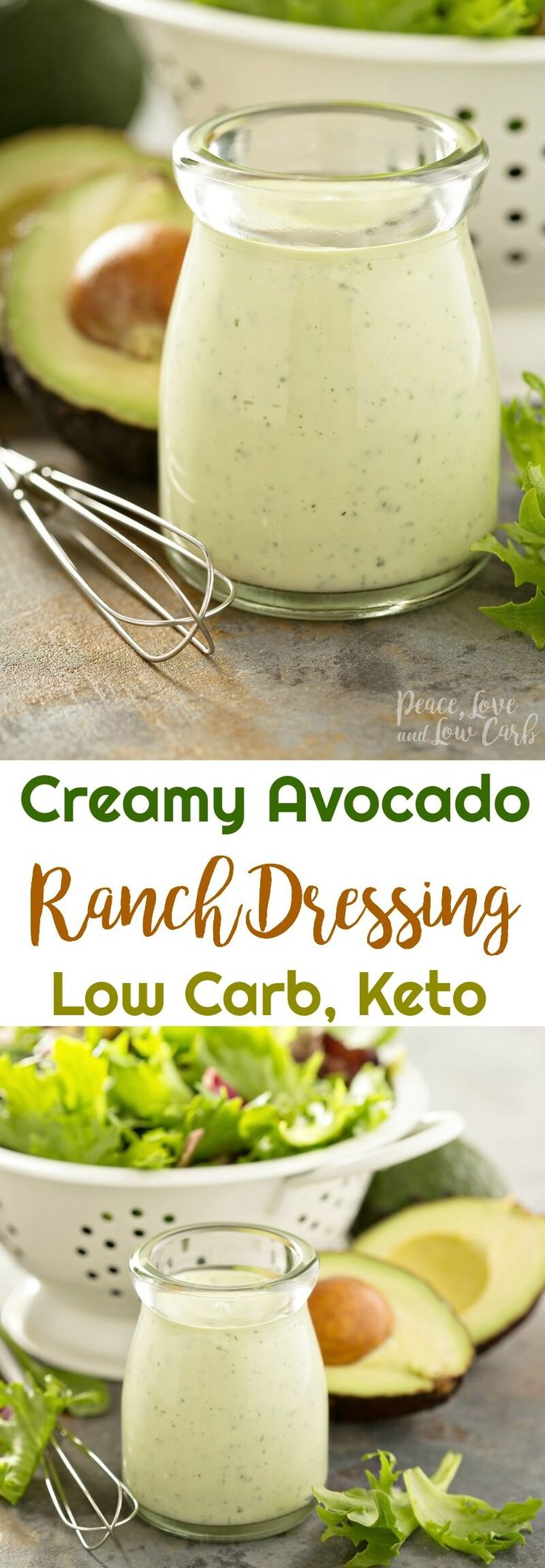 Keto Creamy Avocado Ranch Dressing  | Peace Love and Low Carb via @PeaceLoveLoCarb