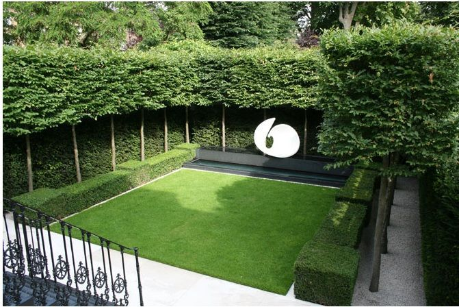 Pleached trees, lawn, hedging. Making a space all of your own
