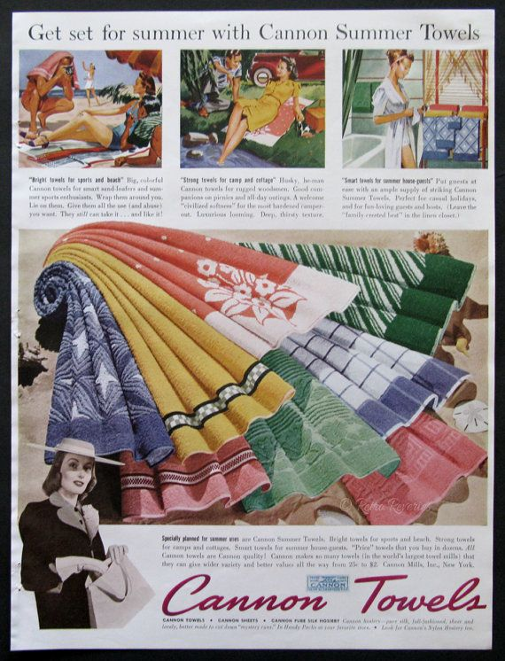 1940 Cannon Towels Ad - Summer Towels - Beach Towel - Picnic Blanket - Bath Towel - Home Decor Style - Midcentury America Vintage Print Ads