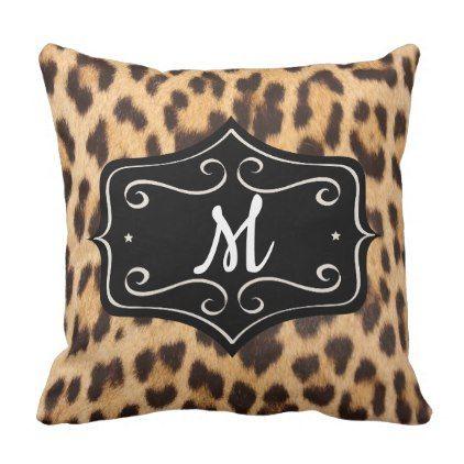 Leopard Print Retro Rockabilly Monogram Pillow - diy cyo customize create your own #personalize